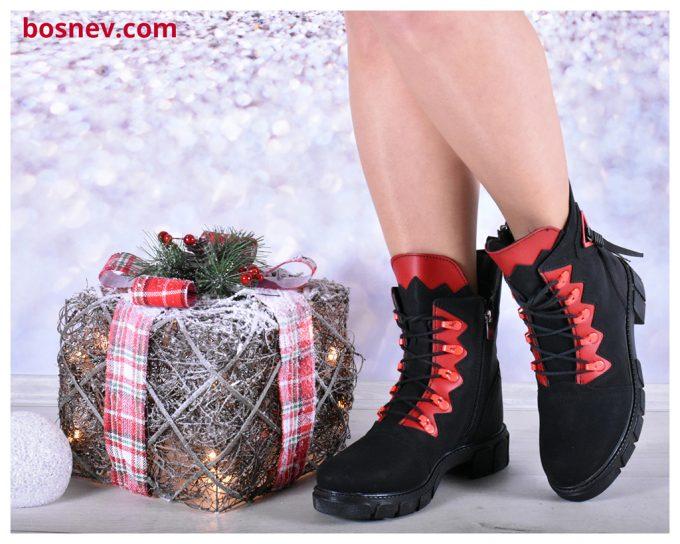 Спортни дамски обувки в черно и червено