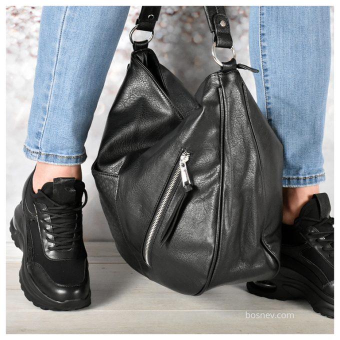 Дамски спортни обувки в черно в комплекс с чанта черна