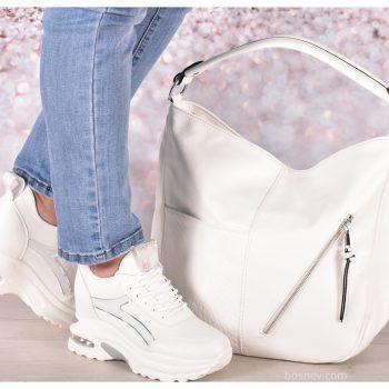 Комплект обувки и чанта в бяло