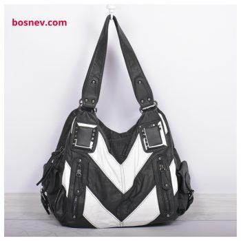 Дамска чанта в бяло и черно 66376-1
