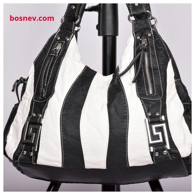 Дамска чанта бяло и черно 7456